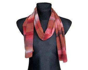 Mens red scarf - Painted men scarf - Men silk scarf - Elegant man scarf - Men brown scarf - Mens fashion scarf - Men summer scarf