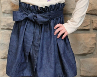 Little Girls Denim Skirt with Paper Bag Style Waist and Sash, Girls Denim Skirt, Paper Bag Skirt with Sash, Little Girls Skirt with Sash