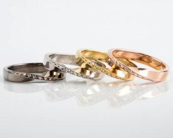Mobius Solid Gold 14K - 18K Rose Gold White Yellow Moebius Black Rhodium BAND Ring - Diamond Band Ring