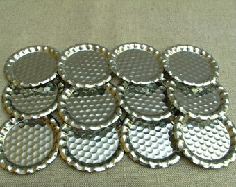 Vintage Set of 12 Little Metal Plates for Glasses for Wine Glasses 1970s