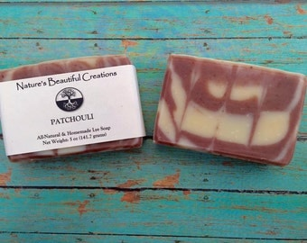 FREE SHIPPING - Patchouli Soap 5oz Homemade All-Natural Soap