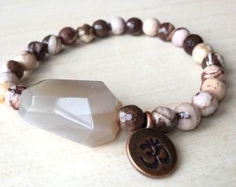 Yoga Zebra Bracelet,Moonstone Nugget Zen,Brown Om Jewelry,Meditation Tool Ohm,Japa Mala Bracelet,Energy Creativity Om,Hope Moonstone Jewelry