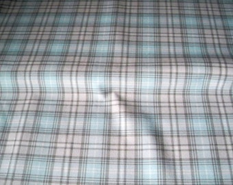 Blue Grey Check, Suiting Fabric,  Polyester Rayon, Spandex Stretch, De-stash Skirt Fabric
