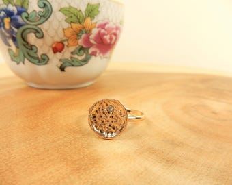 Hammered Gold Ring, Size M