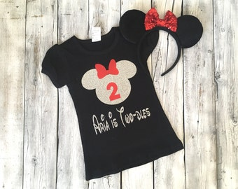 personalized red and silver Minnie Mouse second birthday outfit, twodles 2nd birthday outfit, minnie twodles birthday outfit 2 birthday