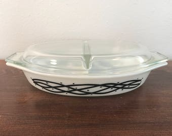 Pyrex Divided Casserole with lid - Barbed Wire - Promotional