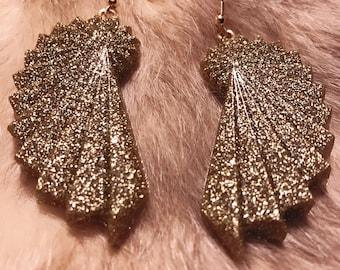 Vintage inspired Art Deco swirl gold glitter resin dangle earrings