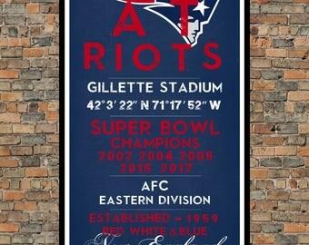 New England Patriots - Eye Chart chalkboard print - sports, football, gift for fathers day, subway sign - Eyechart wall art