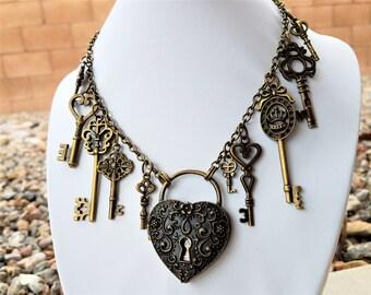 Steampunk heart  lock and key statement locket