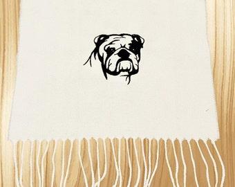 English Bulldog Embroidered Knit Scarf