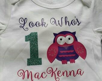 Owl birthday shirt.  Personalized.  T-shirt or bodysuit.