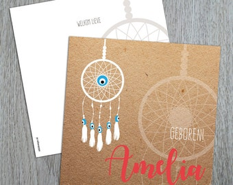Birth announcement card with dreamcatcher and evil eyes