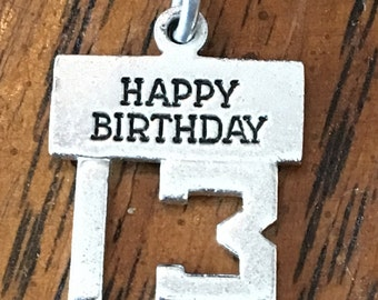 Sterling Silver Happy Birthday 13 charm or pendant