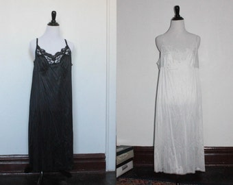 Vintage Plus Size Slips/Nighties w/ Lace Trim (long) BLACK OR WHITE!