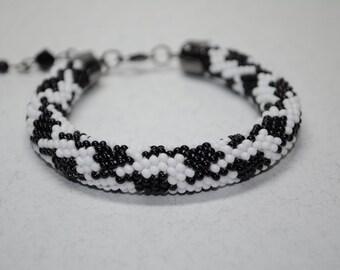 Black and white bracelet Bead crochet beaded handmade glamor handcrafted jewelry crocheted rope knit ukrainian Beadwork Seed Beads gift for