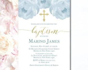 Blue & Gold Baptism Invite- Elegant Boy Baptism Invite- Boy Christening Invitation- baptism invitation in spanish