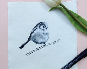 Long-tailed Tit, Ink Drawing