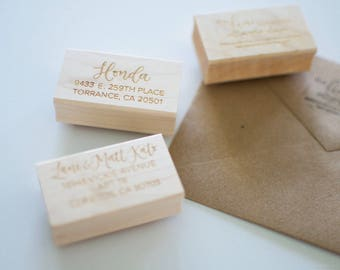 Handlettered Custom Wooden Stamp | Return address, company stamp, calligraphy