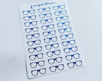 Electric Blue Glasses Stickers - Planner Stickers