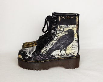 Crow shoes, raven print shoes, goth shoes, alternative, women shoes, nevermore shoes, skulls shoes, steampunk shoes, gothic, gift for her