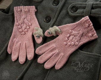 Hand knitted women gloves with sloths, wool sloth, winter warmer, women clothes, sloth gloves, pink gloves, needle felting
