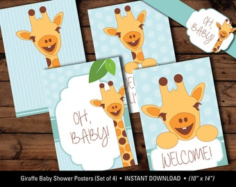 Giraffe Baby Shower Posters (Set of 4), Oh Baby Posters, Giraffe Baby Shower Printables