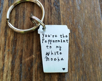 Hand stamped coffee hand stamped latte coffee keychain you're the peppermint to my white mocha keychain lucky keychain gift couples coffee