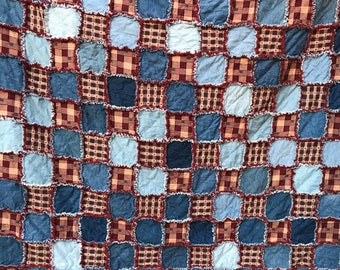 "Upcycled Denim and Patriotic Homespun Fabric Rag Quilt 74""x85"" Denim Patriotic Flannel Homemade Twin Full Queen"