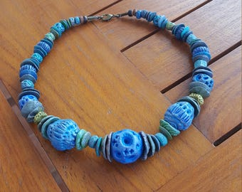 Beaded Necklace Sea and Sky