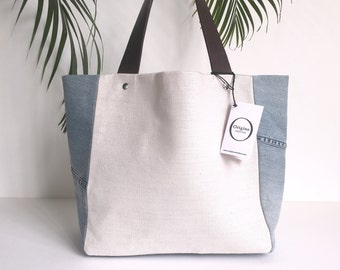 linen bag and Jean's reversible recycled by Origine création