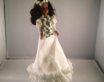 Vintage European Doll in White Dress with Flowers in Her Hair