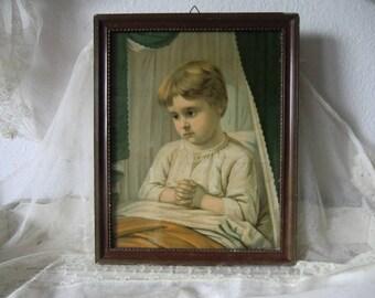 Large vintage shabby children image print behind glass in old original frame