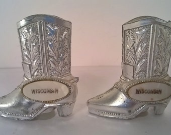 Vintage Metal Wisconsin Cowboy Boots Salt and Pepper Shaker Set (#16)