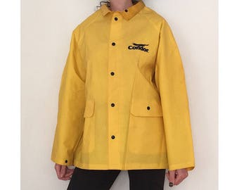 Yellow Raincoat - Vintage Vinyl PVC Waterproof Rain Jacket - 90's Yellow Rain Jacket - Button Up Jacket - Spring Raincoat - Yellow Vinyl