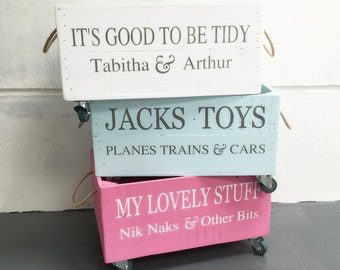 Personalised Wooden Toy Storage Crate with rope handles and wheels