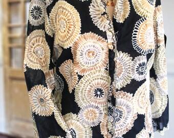 Vintage Talbots Bohemian Tribal Print Shirt Pure Cotton Three Quarter Sleeve Little Ruffles Sheer Great Layering Top