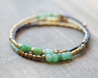 Chrysoprase Beaded Wrap // 3x Beaded Wrap Bracelet // Seed Bead Bracelet