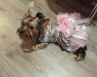 Silver sequins designer dog dress Wedding dog attire Designer dog dress Custom made dog dress XXXS XXS XS S M dog dress with sparkles