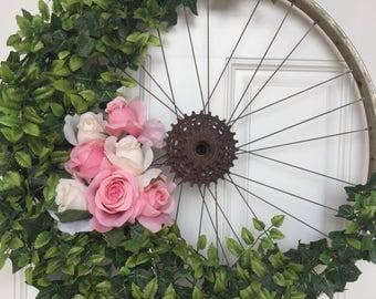 Bicycle Wheel Wreath-Door Wreath-Wall Hanging