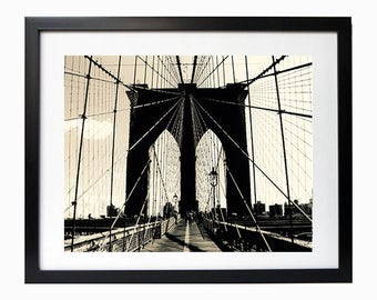 Brooklyn Bridge New York City Print  Photography NYC Home decor B&W photo Brooklyn Bridge america wall art print home decorating black white