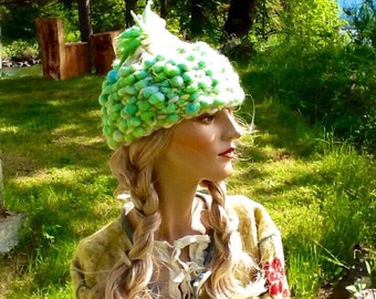 Knit hat, hand knit wool hat, pixie sparkles knit hat, winter sweet pea pod green hat, hand spun knit hat, art yarn, unique knit hat, wool