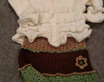 By KnottedwLove Designs. Toddler ruffles and flowers cardigan/skirt set.