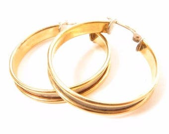 18K Solid Yellow Gold 925 Sterling Silver Large Italy Hoop Earrings*5.8G*E514