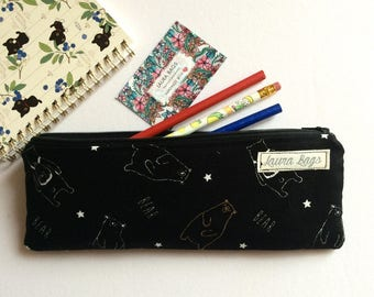 Pencil case, bears pencil pouch, zipper pouch, funny