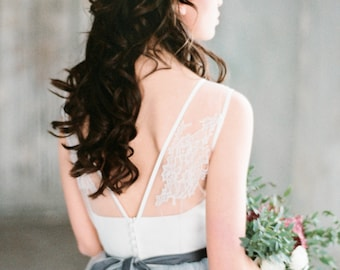 Bureya - sweetheart wedding dress with illusion back, corset bodice with lace, unique modern open back dress, a-line modern skirt, milamira