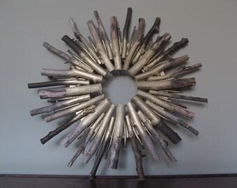 Wood Twig Wreath. Wood Stick Wreath. Rustic/Modern Wood Wreath. Holiday Decor. Metallic Sunburst Wood Decor