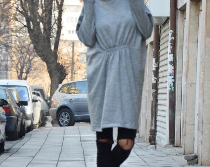 Maxi Grey Cotton Knitting Dress, Sexy Oversized Winter Dress, Plus Size Clothing, Midi Dress By Ssdfashion