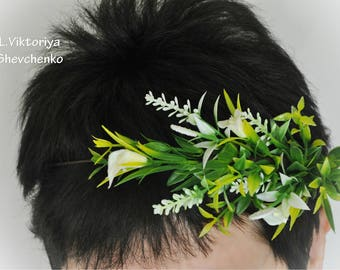 Ready to ship Greenery floral crown Woodland Wedding Flower crown Flower girl crown Wedding hair wreath Green White flower halo Flower LV12