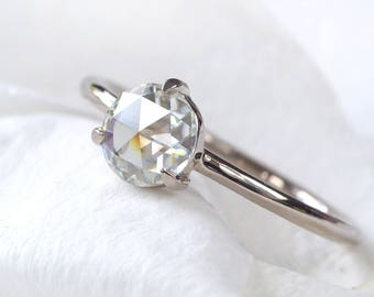 Rose Cut Moissanite Ring | 18ct Gold or Platinum | Eco Friendly | Handmade to Size in the UK