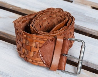 ON SALE 20 % Brown women genuine leather belt woven leather wide belt braided brown belt accessories